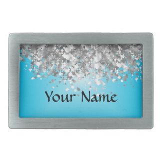 Pale blue and faux glitter rectangular belt buckle
