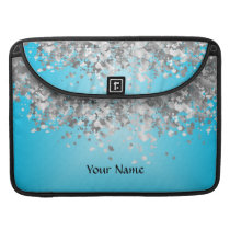 Pale blue and faux glitter sleeve for MacBook pro