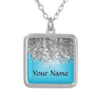 Pale blue and faux glitter square pendant necklace