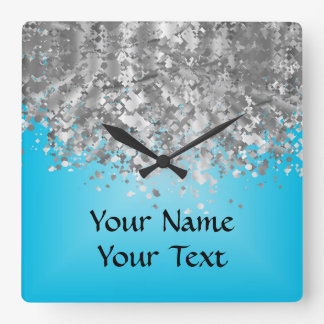 Pale blue and faux glitter square wall clock