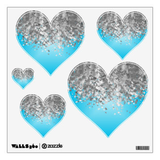 Pale blue and faux glitter wall decal