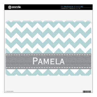 Pale Blue and Gray Chevron 11 in MacBook Air Skin