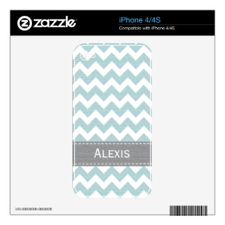 Pale Blue and Gray Chevron iPhone 4 / 4s Skin iPhone 4S Skin