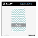 Pale Blue and Gray Chevron iPod Touch 4g Skin