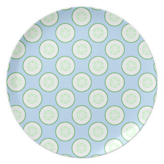 Pale Blue and Green Cucumber Pattern. Dinner Plate