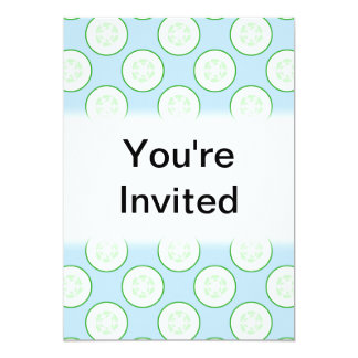 Pale Blue and Green Cucumber Pattern. Custom Invitation