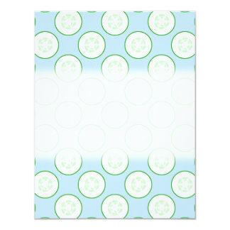 Pale Blue and Green Cucumber Pattern. Custom Invites