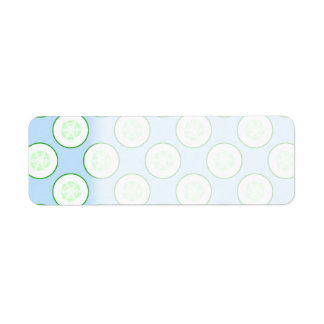 Pale Blue and Green Cucumber Pattern. Label