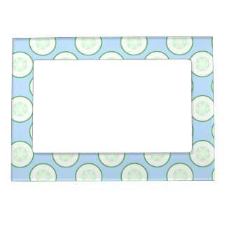 Pale Blue and Green Cucumber Pattern. Magnetic Photo Frames