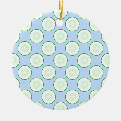 Pale Blue and Green Cucumber Pattern. Double-Sided Ceramic Round Christmas Ornament