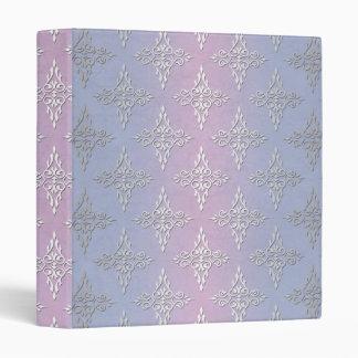 Pale Blue and Lavender Damask Pattern 3 Ring Binder