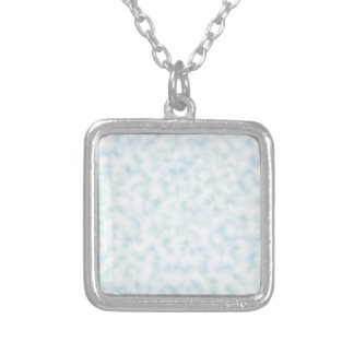 Pale Blue and White Abstract Clouds Pattern Square Pendant Necklace