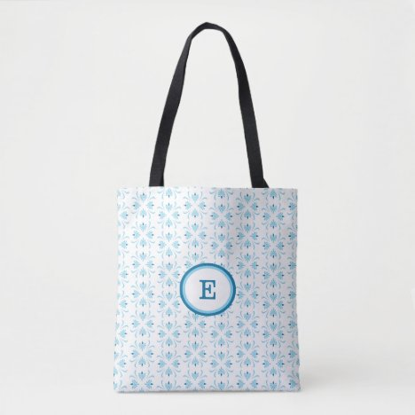 Pale Blue and White Abstract Floral Pattern Tote Bag
