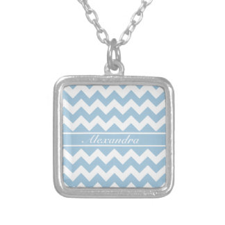 Pale Blue and White Chevrons Square Pendant Necklace