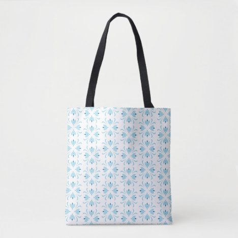 Pale Blue and White Floral Abstract Tote