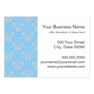 Pale Blue and White Floral Damask Pattern Business Cards