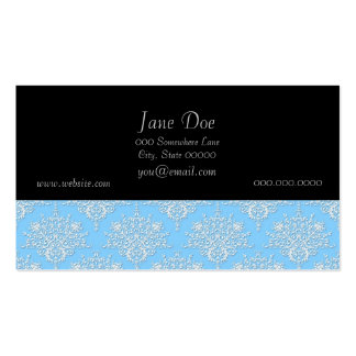 Pale Blue and White Floral Damask Pattern Business Card Templates