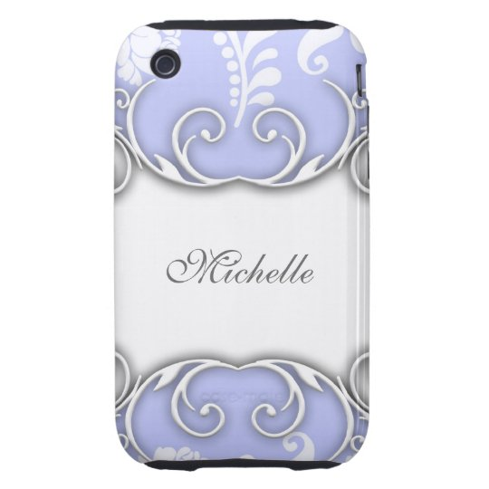 Pale Blue and White Floral Damask Wedding iPhone 3 Tough Cover