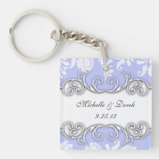 Pale Blue and White Floral Damask Wedding Keychain