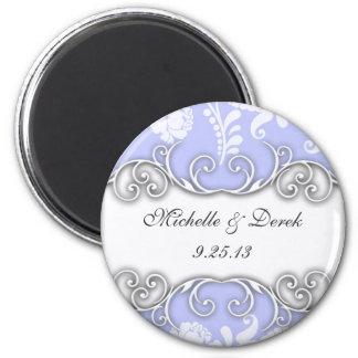 Pale Blue and White Floral Damask Wedding Refrigerator Magnet