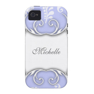 Pale Blue and White Floral Damask Wedding Vibe iPhone 4 Case