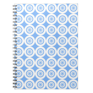 Pale Blue and White Geometric Pattern Circles Notebook