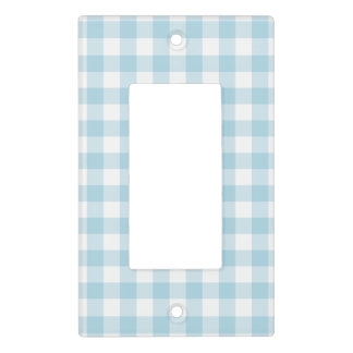 Pale Blue and White Gingham Light Switch Cover