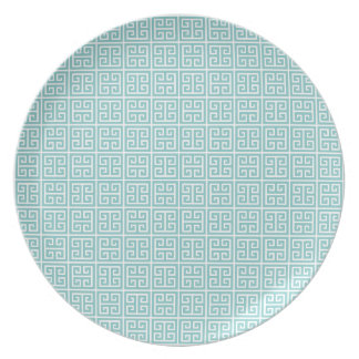 Pale Blue and White Greek Key Dinner Plate