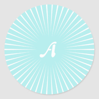 Pale Blue and White Sunrays Monogram Stickers