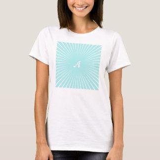 Pale Blue and White Sunrays Monogram T-Shirt