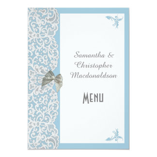 Pale blue and white traditional lace wedding menu 5x7 paper invitation card