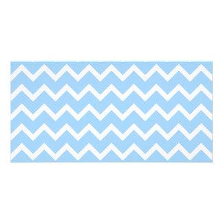 Pale Blue and White Zig zag Stripes. Card