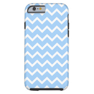 Pale Blue and White Zig zag Stripes. Tough iPhone 6 Case