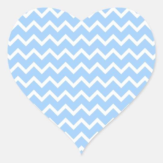 Pale Blue and White Zig zag Stripes. Heart Sticker