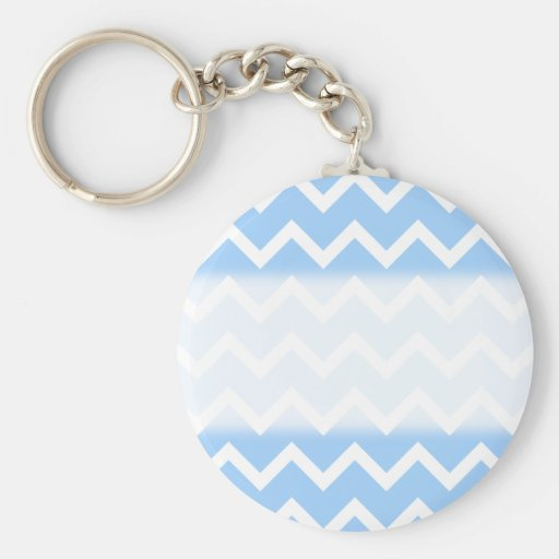 Pale Blue and White Zig zag Stripes. Basic Round Button Keychain