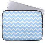 Pale Blue and White Zig zag Stripes. Laptop Sleeve
