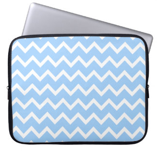 Pale Blue and White Zig zag Stripes. Laptop Sleeves