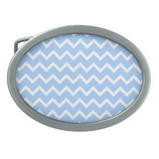 Pale Blue and White Zig zag Stripes. Oval Belt Buckle