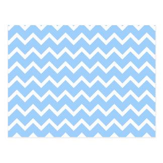 Pale Blue and White Zig zag Stripes. Postcard