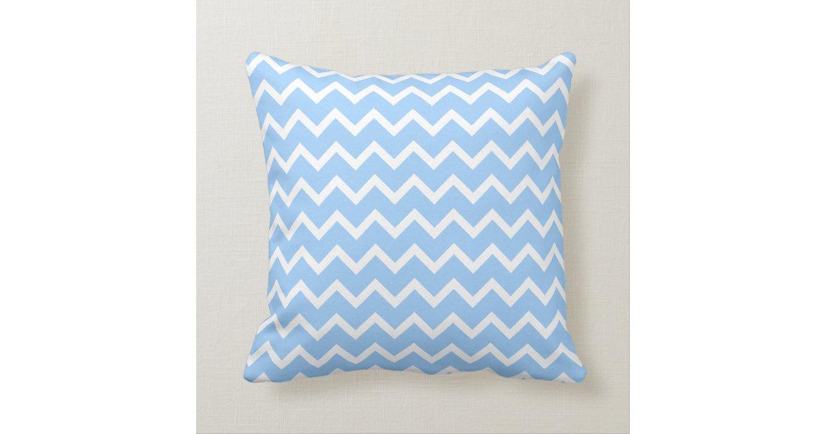Pale Blue and White Zig zag Stripes. Throw Pillow Zazzle