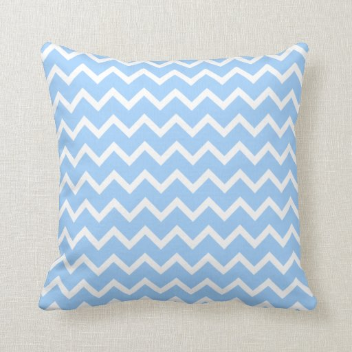 Pale Blue and White Zig zag Stripes. Throw Pillows