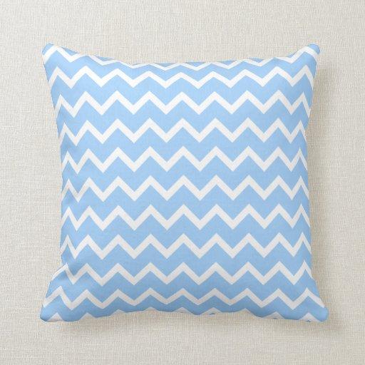 Pale Blue Throw Pillow : Pale Blue and White Zig zag Stripes. Throw Pillows Zazzle