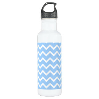 Pale Blue and White Zig zag Stripes. Water Bottle