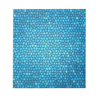 Pale blue aqua color stained glass pattern notepad