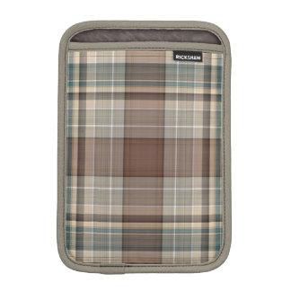 Pale blue, beige and brown tartan sleeve for iPad mini