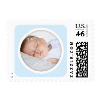 Pale blue birth announcement photo frame postage