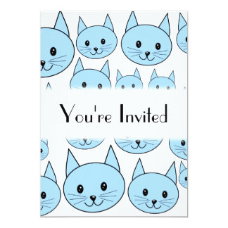 Pale Blue Cats. Pattern. Card