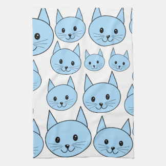Pale Blue Cats. Pattern. Hand Towel