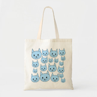 Pale Blue Cats. Pattern. Tote Bag