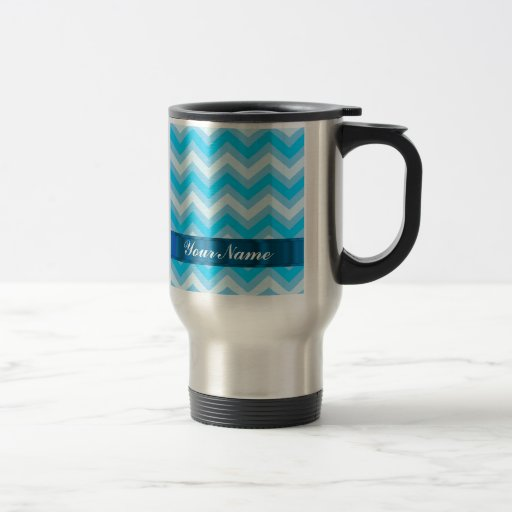 Pale blue chevrons 15 oz stainless steel travel mug